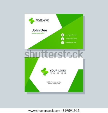 Modern Green Business Card Template Flat Stock Vector Royalty Free