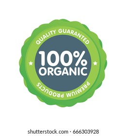 Modern green eco badge. 100 percent organic label. Sticker vector illustration.