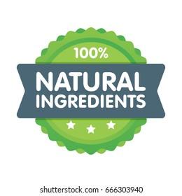 Modern green eco badge. 100 percent natural ingredients label. Sticker vector illustration.