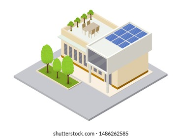 Modern green eco house with solar panels producing electricity on roof isometric vector illustration