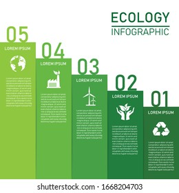 Modern green ecology infographic design. isolated on white background. vector illustration design. 5 Step Stair. Save the world. environment can be used for workflow layout. Craft paper sustainable.