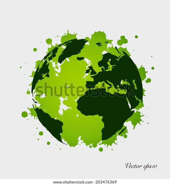 Modern Green Globe Vector Illustration Stock Vector (Royalty