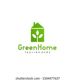 Modern Green Home Logo Design Concept. House and Leaf Icon