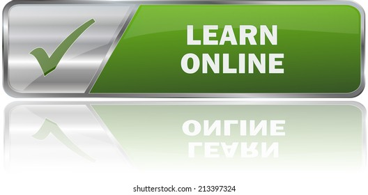modern green learn online label sign