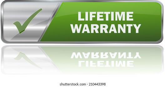 modern green lifetime warranty sign