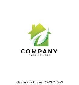 Modern green living logo, gradient color, house building and leaf vector icon