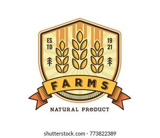 Modern Green Organic Farms Logo Badge Illustration