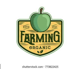 Modern Green Organic Farms Logo Badge Illustration