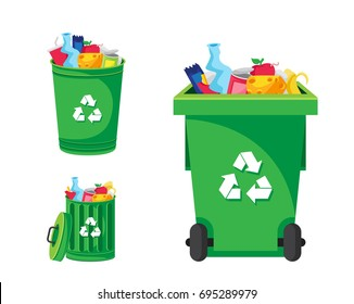Modern Green Recycle Garbage Bin And Trash Object Illustration Set