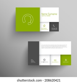 Modern green simple business card template with flat mobile user interface