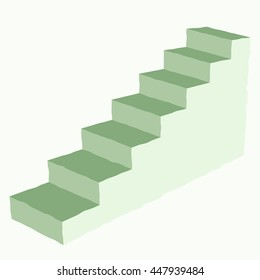 Modern green staircase icon. Ladder 3d side view. Vector illustration on white background.