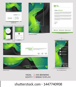 Modern green stationery mock up set and visual brand identity with abstract colorful dynamic background shape. Vector illustration mock up for branding, cover, card, product, event, banner, website.