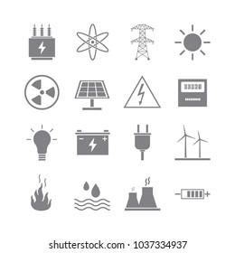Modern grey energy icons on white background.