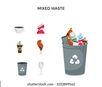Modern Grey Recycle Mixed Waste Garbage Bin And Trash Object Illustration Set, Suitable For Illustration, Book Graphics, Icons, Game Asset, And Other Recycle Related Activities.