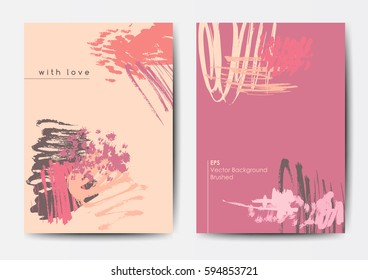 Modern grunge brush design templates, invitation, banner, art vector cards design in bright colors