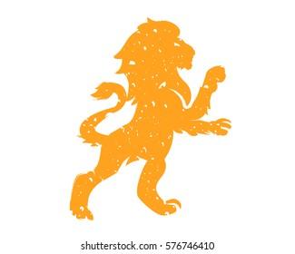 Modern Grunge Gold Standing Lion Logo