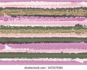 Modern grunge texture brush stroke stripes with gold glitter sparkles vector seamless pattern background. Sparkles golden glitter glossy confetti over horizontal painted stripes. Fabric print.