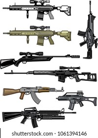 Modern  Guns: automatic weapon, machine gun and Modern sniper rifles