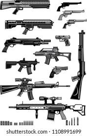 Modern  Guns: automatic weapon, machine gun and pistol