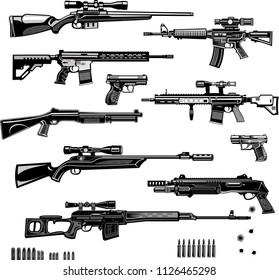 Modern  Guns: automatic weapon  and pistol