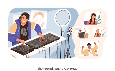 Modern guy online dj mixing music at live stream vector illustration. Smiling man in headphones have virtual party with diverse people isolated. Joyful male create sound entertainment for audience