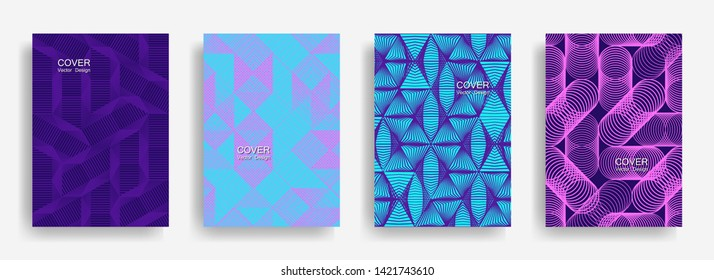 Modern  halftone shapes minimal geometric cover templates set graphic design. Halftone lines grid vector background of triangle, hexagon, rhombus, circle shapes. Typical geometric cover backgrounds.