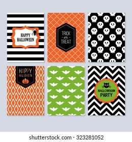 Modern Halloween greeting card set with geometrical seamless pattern
