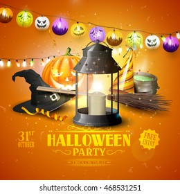 Modern Halloween party flyer with black lantern, old hat, pumpkin, confetti, party hat and colorful paper lanterns and lights on orange background.