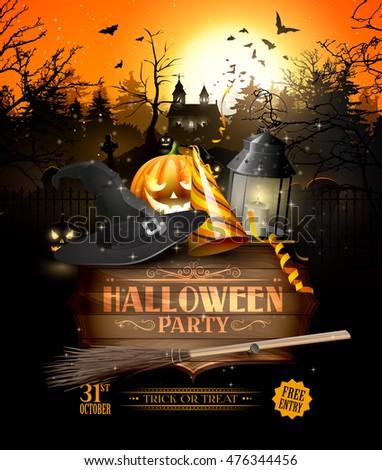 modern halloween party flyer black lantern stock vector royalty