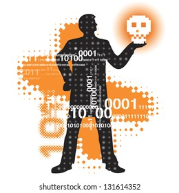 Modern Hamlet in cyberspace. Abstract  cyberspace background with binary code and a male silhouette holding skull. Vector illustration.