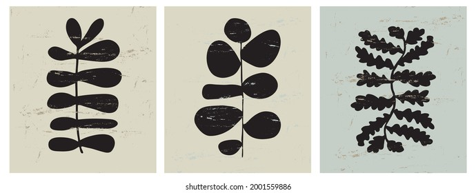 Modern Hand Drawn Floral Vector Illustration. Black Exotic Flowers, Twigs and Leaves Isolated on a Pale Green Background. Simple Infantile Style Abstract Tropical Garden Prints.
