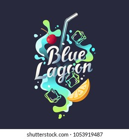 Modern hand drawn lettering label for alcohol cocktail Blue Lagoon. Handwritten inscriptions for layout and template. Vector illustration of text.