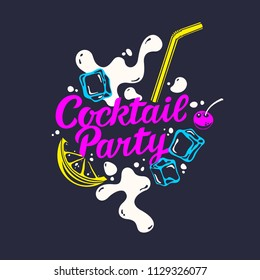 Modern hand drawn lettering label for cocktail party. Handwritten inscriptions for layout and template. Vector illustration