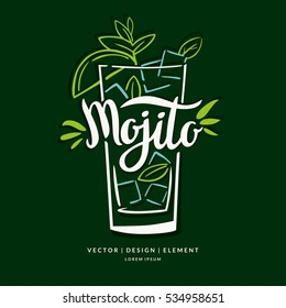 Modern hand drawn lettering label for alcohol cocktail Mojito. Calligraphy brush and ink. Handwritten inscriptions for layout and template. Vector illustration of text.