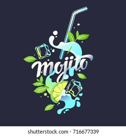 Modern hand drawn lettering label for alcohol cocktail Mojito. Handwritten inscriptions for layout and template. Vector illustration of text.