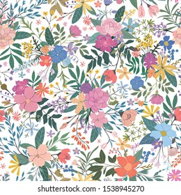 Modern hand-drawn floral seamless vector patterns, bright colorful flowers,