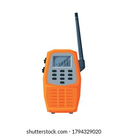 Modern Handheld Radio Transmitter, Orange Portable Radio Device with Screen and Antenna Flat Vector Illustration