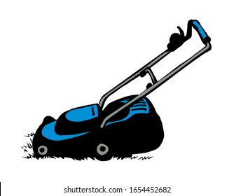 Modern handle grasscutter scythe device on white ground space for text. Freehand outline black ink hand drawn turf shear chore machinery object logo emblem pictogram design sketchy in art doodle style