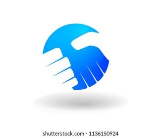 Modern Handshake Logo Illustration In Isolated White Background