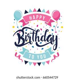 Modern Happy Birthday Card Illustration - Clean Flat Birthday Hand Lettering Typography