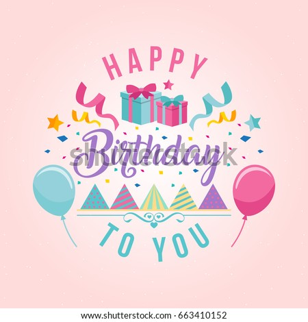 Modern Happy Birthday Card Illustration Birthday Stock Vektorgrafik