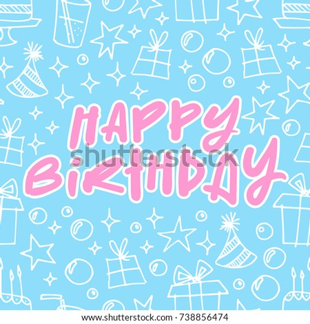 Modern Happy Birthday Cards Template With Party Elements On Light Blue Background Lettering In Pink Simple Festive Design For Or Anniversary