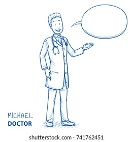Modern happy doctor in white coat and stethoscope giving advice and explaining something. Hand drawn blue outline line art cartoon vector illustration.