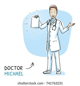 Modern happy doctor in white coat and stethoscope holding and showing paper sheet, information leaflet or certificate. Hand drawn cartoon sketch vector illustration, whiteboard marker style coloring.