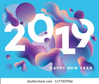 Modern Happy New 2019 Year cover template with colorful vibrant gradient fluid shapes floating around the numbers in blue, purple, pink and orange color combination