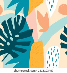 Modern Hawaiian seamless pattern in vector. Contemporary tropical abstract collage with various of plants and geometric shapes.