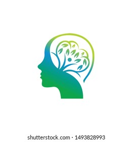 Modern head logo of Psychology. Profile Human. Creative style. Logotype in vector. Design concept. Brand compani. Symbol for web, print, card. Keyhole