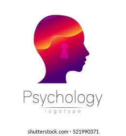Modern head logo of Psychology. Profile Human. Creative style. Logotype in vector. Design concept. Brand company. Violet color isolated on white background. Symbol for web, print, card, flyer. Keyhole