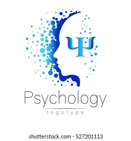 Modern head logo of Psychology. Profile Human. Letter Psi. Creative style. Logotype in vector. Design concept. Brand company. Blue color isolated on white background. Symbol for web, print