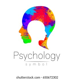 Modern head logo of Psychology. Profile Human. Creative style. Logotype in vector. Design concept. Brand company. Rainbow brush strokes isolated on white background. Symbol for web, print card, flyer.